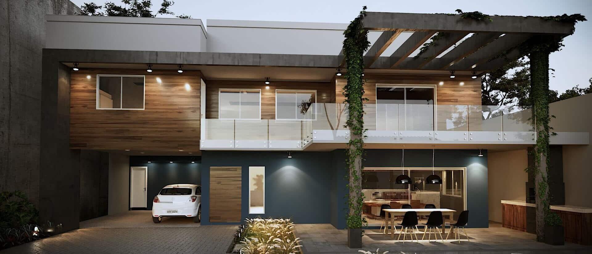 Projeto Casa Fachada modernista, revestimento madeira nas paredes