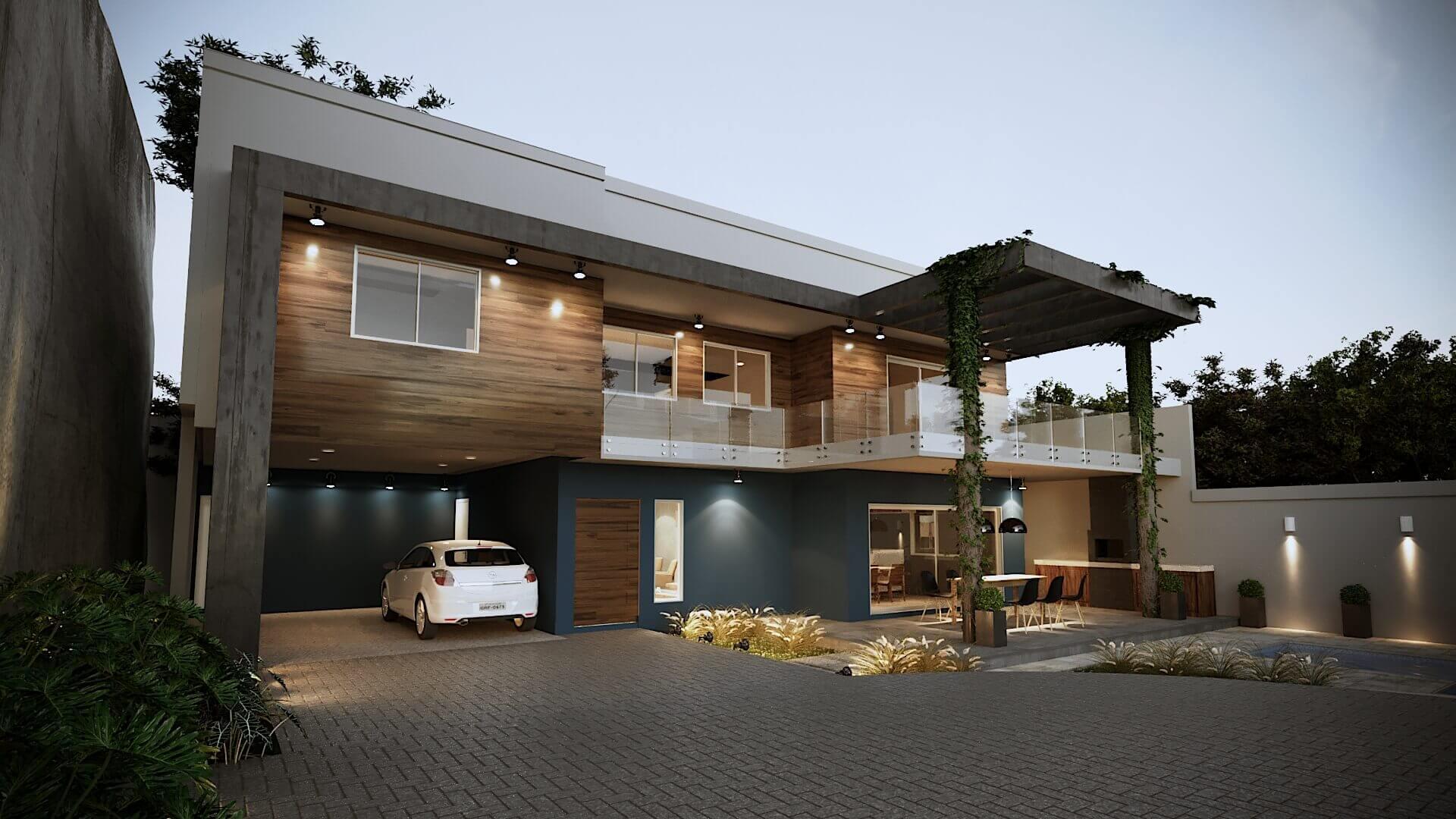 Projeto casa fachada moderna df gelker ribeiro arquitetura for Casa moderna wallpaper