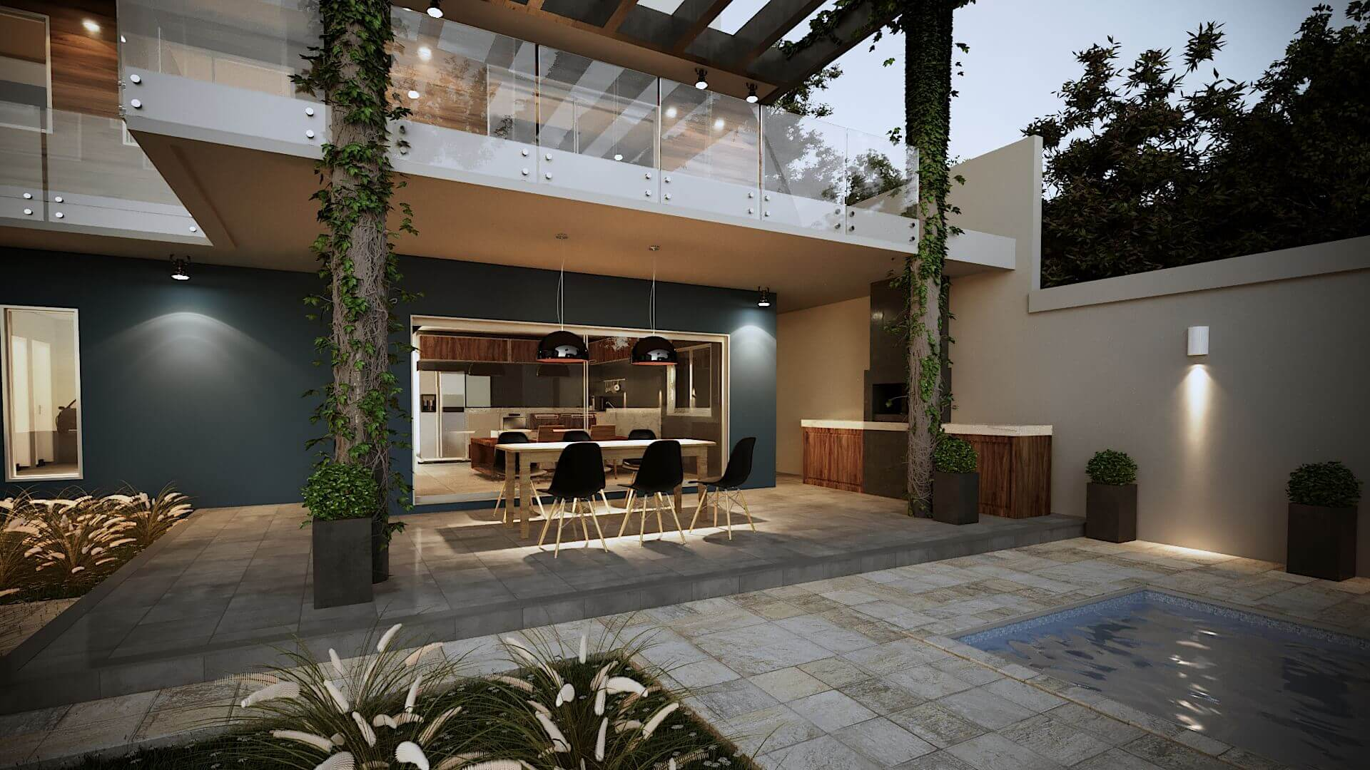 Projeto Casa Fachada modernista, piscina