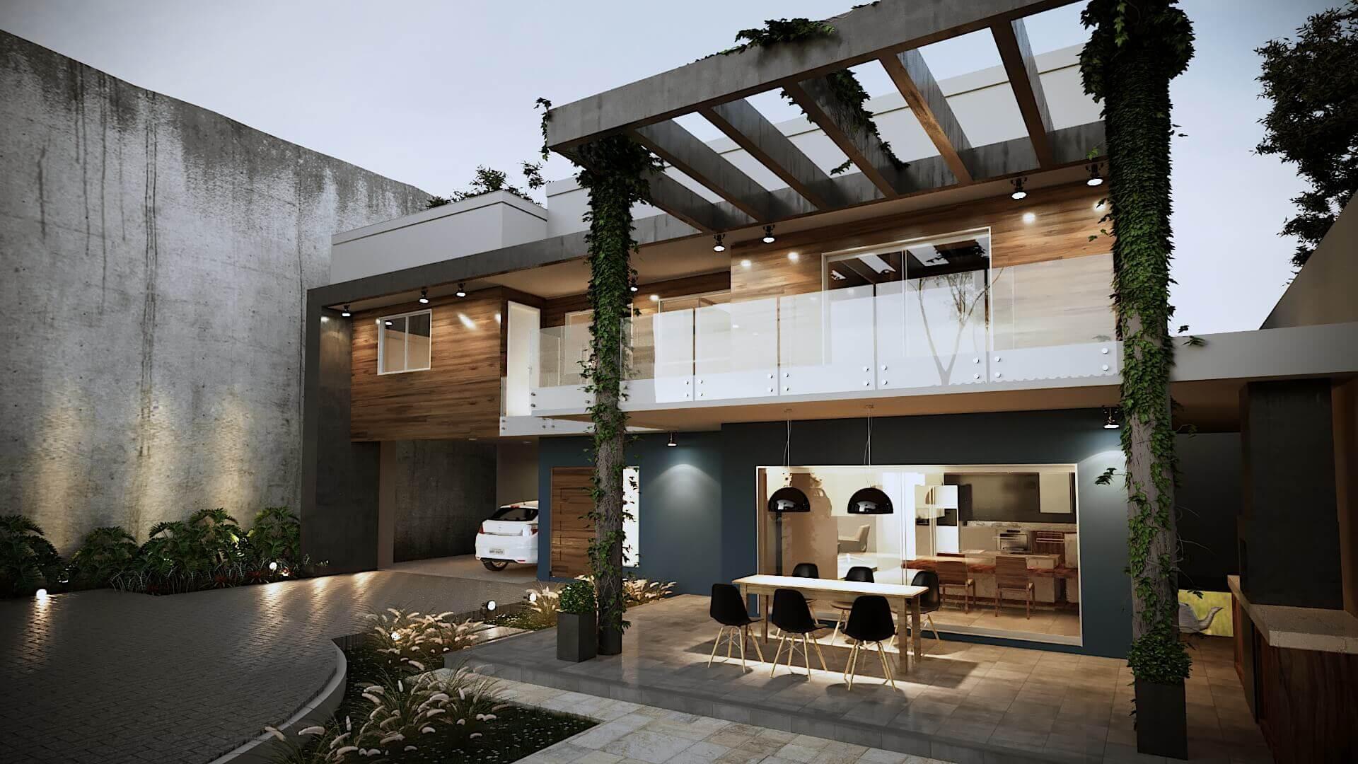Casa Fachada modernista, pergolado concreto, trepadeiras