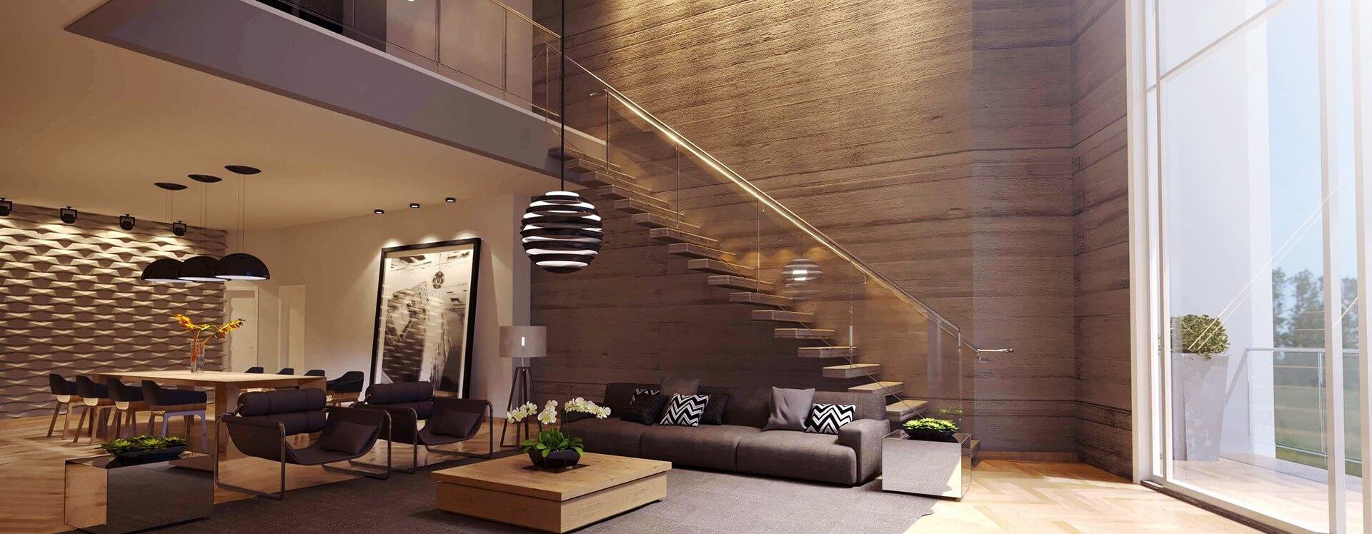 pé direito duplo, escada concreto - interior - projeto casa moderna