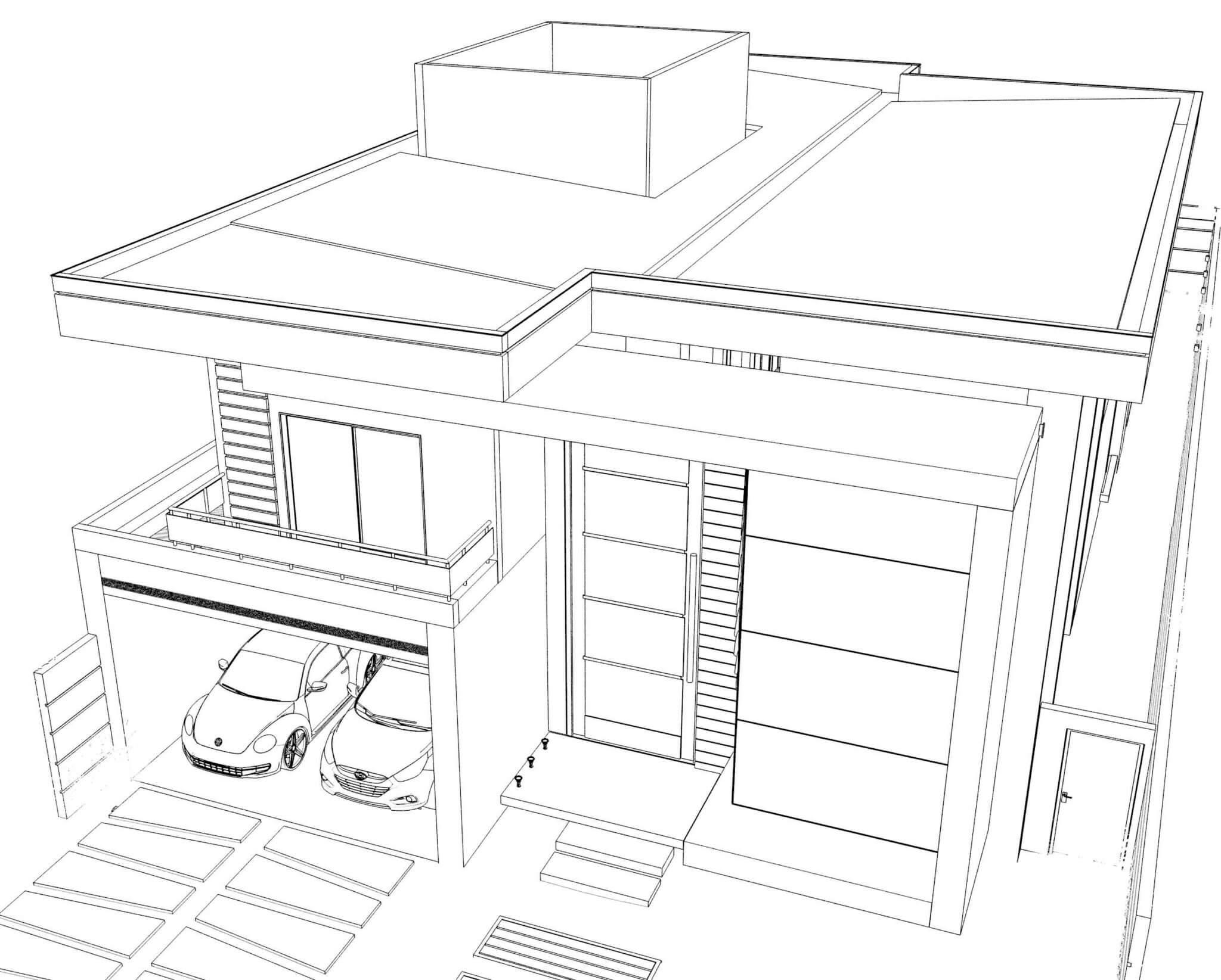 Desenho da Fachada Casa Contemporânea