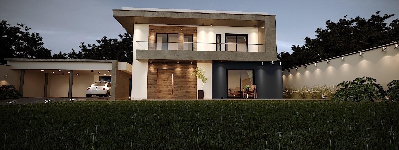 gramado Casa Fachada Contemporânea detalhe madeira concreto e parede azul