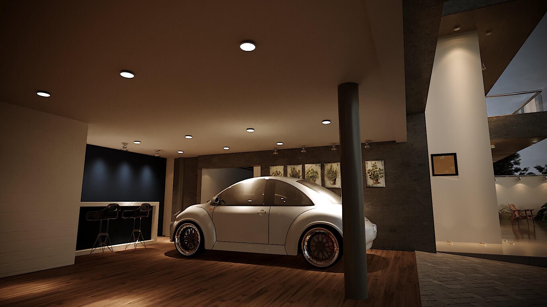 garagem, piso madeira