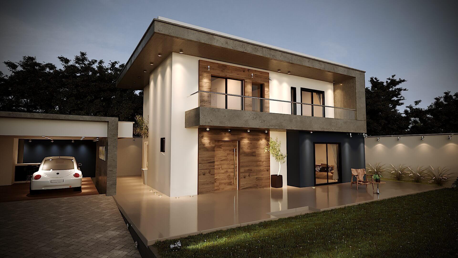 Casa Fachada Contemporânea detalhe madeira concreto e parede azul