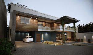 Casa Fachada modernista, madeira e azul