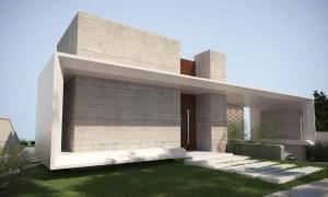 projeto fachada casa moderna - porta pivotante - concreto